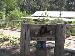 Me in the stocks at Old Mogo Town (Princess_Fi) Tags: mogo maluabay
