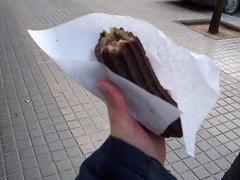 Chocolate covered churro or xurro (*nata linda*) Tags: barcelona churro food xurro spain