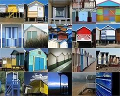 beach hut montage (monkeymagic1975) Tags: beach hut beachhut seaside holiday sea paint boat pastel promenade beachfront sand door veranda balcony