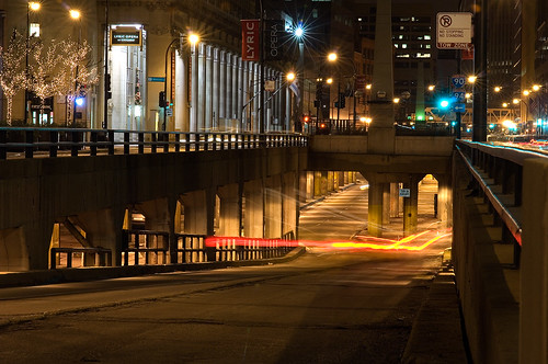 Entrance to lower Wacker St. in Chicago