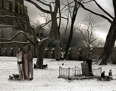 Winter in the Garden (Mattijn) Tags: winter cats snow cold castle cemetery collage garden affection tombstone gothic surreal blanket photomontage macabre clone pino mattijn fromthegardeninmymind