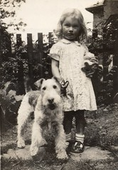 Mom and Benjy, 1940 (cmrowell) Tags: uk family dog topv111 vintage mom interestingness 1940 benjy rochdale harte wirefoxterrier woodfieldave explored