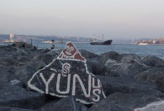 What the Yunus? (rogiro) Tags: sunset sea people freeassociation rock turkey graffiti boat memorial rocks ship afternoon name turkiye istanbul oil turkije bosphorus basalt marmara yunus yusnus skudar