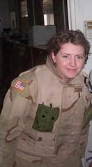 happy at gate (tommigodwin) Tags: woman soldier war iraq baghdad veteran deployment taji bodyarmor