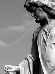 An Angel Guardian (FOTOGRAFIA.Nelo.Esteves) Tags: blackandwhite bw sculpture usa beautiful cemetery grave statue angel us newjersey nice unitedstates great nj 2006 mementomori monmouthcounty lovely middletown fabulous bayshore dimageg600 necropolis greatphotographers taphophile views500 mtolivett neloesteves