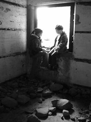sisters (VickyTH) Tags: october 2005 thanksgivingweekend capespear bw vth bunker wwiibunker window ruins ruin abandoned park parkscanada newfoundland canada child children sisters tag1 tag2 tag3 taggedout