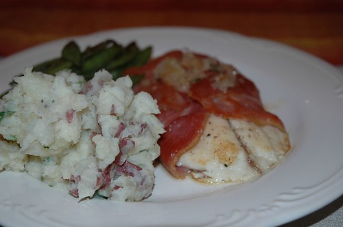 Proscuitto-Wrapped Tilapia, Mashed Fingerling Potatoes, and Snow Peas Courtesy of the Best Husband Around