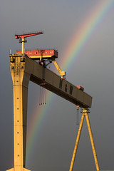 Promise of Rain (jonathanclark) Tags: weather wow rainbow crane belfast canon350d northernireland shipyard harlandwolf 10faves exceptionalireland bbcredbutton