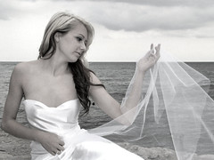 Angelica II  -- Now on VIDEO -- Please vote (Lightscapes) Tags: lake water girl beautiful fashion female angel model rocks pretty dress stones ducks babe blonde satin lightscapes