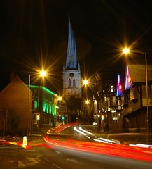 Chesterfield's Twisted 'n' Crooked Church (Bobasonic) Tags: christmas church spire card website twisted chesterfield crooked floodlit christmascard libdems top20christmaslights 78points nikonstunninggallery chesterfieldlawcentre digitalumberella