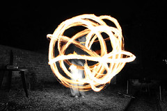 Fire Poi (Bucky O'Hare) Tags: white black art fire artistic poi juggle partial