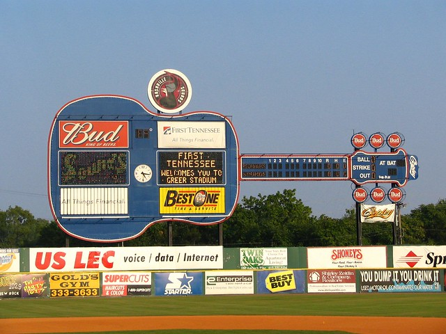 Guitar scoreboard for the Nashville Sounds