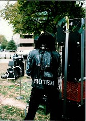 Punk at Dupont Circle Protest, 1980's (vinylmine) Tags: leather washingtondc dc punk jacket 80s dupontcircle theeternals damonlocks trenchmouth protem