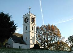 Clock tower (minxlj) Tags: park blue trees sky building tower clock nikon d70 darlington vapor vapourtrail