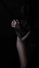 Sister of Night (Violator3) Tags: selfportrait black colour topf25 1025fav dark naked nude nikon shadows hand darkness d70s 100v10f womenonly violator3 depechemode desaturated conceptual 500v 1000v vioularousa mrdepechemode longaftermidnightincarnation