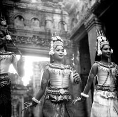 in flower (birdcage) Tags: blackandwhite bw mediumformat temple cambodia dancers mostfavorited angkor yashicamatlm preahkhan apsaras
