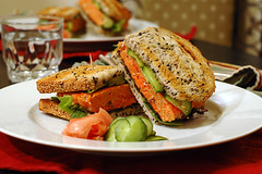 Asian salmon burger sandwich (ilmungo) Tags: food kitchen topv111 dinner bread yummy burger cucumber salmon sandwich delicious pickledcucumber icookedthis sesamebread andthenateit