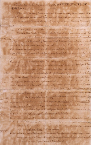 declaration of independence scroll. draft of the Declaration