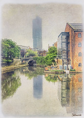 Head in the clouds, feet in the canal. (sidibousaid60) Tags: uk building water reflections manchester canal outdoor textures tall beethamtower photoshoop cs5