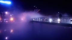 The Fog Bridge (Cris Ward) Tags: city uk bridge sculpture art water fog night river dark bristol britain smoke vivid olympus nighttime installation environment colourful ambience omd csc mirrorless
