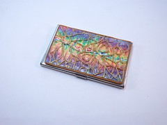 Colorful Mosaic Business Card Case (polymerclaycreations) Tags: butterfly carved rainbow polymerclay monet businesscardholder pcagoe monthlychallenge polymerclaycreations angelahickey
