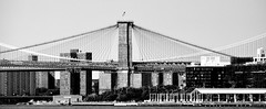 Bridge Symmetry (pjpink) Tags: nyc bridge summer blackandwhite bw newyork monochrome june brooklyn river symmetry brooklynbridge 2015 eastrive pjpink