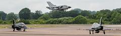 Italian Tornado lands while two RAF Hawk T2 (Team Ninja) wait for clearance (DrAnthony88) Tags: aircraft tornado royalairforce italianairforce raffairford nikond810 modernmilitary baesystemshawkt2 nikkor200400f4gvrii royalinternationalairtattoo2015 riat2015 andstilltheywait