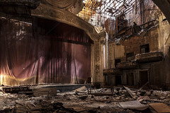 final showing. (stevenbley) Tags: city urban history newjersey rust theater theatre decay nj historic urbanexploration seats jersey curtains mold riots movietheater urbanexploring mildew urbex raceriots 5dmk2 canon5dmarkii