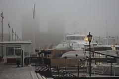 nebliges Oslo - windstill (sigrun_e) Tags: sigrune canon eos 700d norwegen norge norway oslo nebel fog sigma city hafen fjord rathaus radhus
