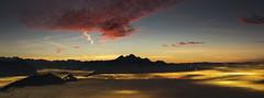 Transition (Brunzolini) Tags: rigi chnzeli pilatus luzern lucerne switzerland schweiz innerschweiz zentralschweiz fog nebel nebelmeer mountain bergkette night sunset dask sonnenuntergang city lights clouds nacht nachtaufnahme
