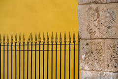 Yellow HFF! (janet.capling) Tags: fence hff yellow wall stone walls posts brass metal cuba havana