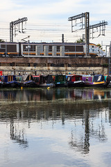 Regent's Canal (mh218) Tags: britain centrallondon eurostar greatbritain kingscross london regentscanal stpancras barge barges boat canal canals capital city narrowboat narrowboats railway railwayline railwaytrack reflection reflective train uk vertical water waterway