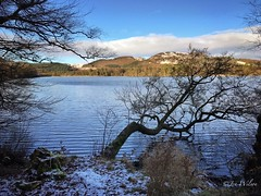 Loch of the Lowes, Dunkeld. January 2017. (Jen_wilsonphotography) Tags: iphone clouds bluesky snow hills trees water loch winter scotland perthshire dunkeld lochofthelowes