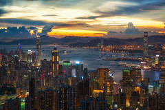 Cityscape of Hong kong and Kowloon (anekphoto) Tags: cityscape city urban asia china hongkong island hong kong night skyline business architecture downtown peak victoria view sky landscape building travel office metropolis harbor modern lightkong landmark district sunrise beauty dawn sunset harbour holiday new york skyscraper scene tower twilight dusk background cloud structure kowloon boat light water transport hk