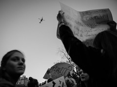 Donald Trump Protest - Manhattan - November 2016 (A Screaming Comes Across the Sky) Tags: donald trump protest manhattan november 2016 onlookers nikon d800 d800e tamron 2470 f28 nyc new york city newyork outdoor blackandwhite monochrome people text groupshot depth field child crowd