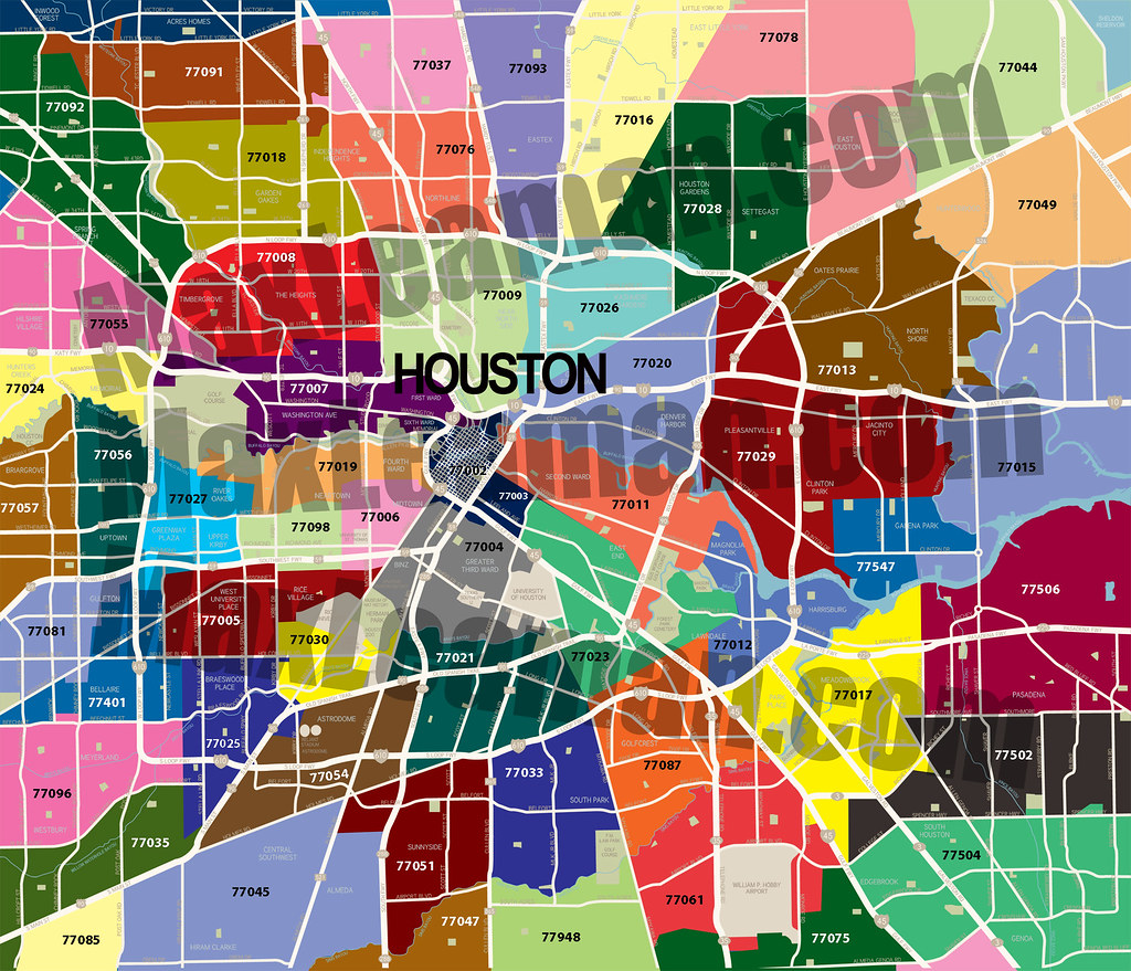 Houston Texas Zip Code Map Zip code map of Houston, TX   HAR.com