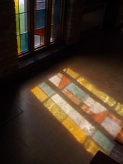 Coloured Reflections, St Thomas More, Stivichall (Aidan McRae Thomson) Tags: church modern catholic coventry warwickshire stivichall styvechale