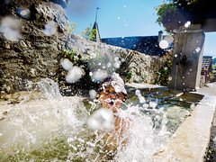 157/365: Fountain of Joy (haslo) Tags: water fountain fun droplets drops kid child joy olympus drop splash omd em1 project365 115in2015