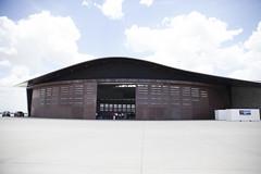 Side view of Hangar with doors open