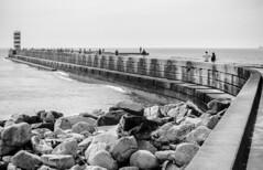 Porto, Portugal. 2015 (EnricAndDestroy) Tags: sea blackandwhite bw costa lighthouse fish beach portugal coast am nikon porto far pescador platja blancinegre pescar peix 2015 oce atlntic canya