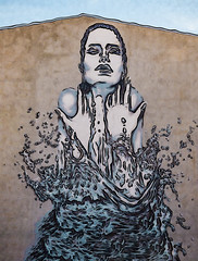 The Cold Splash (Steve Taylor (Photography)) Tags: splash drops droplet art digital graffiti mural streetart blue brown black water woman lady newzealand nz southisland canterbury christchurch outline cold hands wet