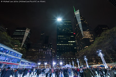 Ice Skating at Bryant Park (20161203-DSC07542) (Michael.Lee.Pics.NYC) Tags: newyork bryantpark iceskating cityscape architecture bankofamericatower metlife 7bryantpark night sony a7rm2 voigtlanderheliar15mmf45