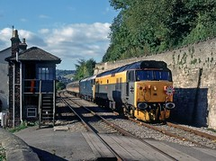 50015/50008, St. Mary's Crossing, October 1991 (David Rostance) Tags: 50008 50015 class50 hooverhoop stmaryscrossing gloucestershire brimscombe chalford signalbox