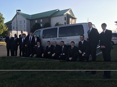 Sr. Mary Andrew RSM and seminarians en route to Shrine of the Immaculate Conception for Papal Mass - September 2015