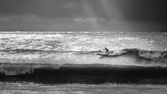 SUP (sbess) Tags: surf wave beach ocean sport ride bw blackandwhite