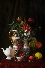 With winter flowers (elisevna) Tags: flowers stilleben stilllife teapot tea cup vase ceramics porcelain orange apple red classical drape glass drink