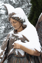 angel (upper) (annapolis_rose) Tags: vancouver cemetery mountainviewcemetery angel statue grave snow fallensnow