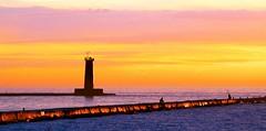 Pier Fishing at Sunset (imageClear) Tags: pier southpier lighthouse sheboygan wisconsin sheboyganlighthouse sun lake lakemichigan color beauty sky aperture nikon d500 80400mm imageclear flickr photostream picmonkeycom