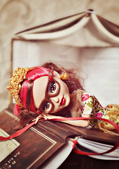 Bookmarked (EliMalone) Tags: rosabella beauty doll mattel everafterhigh rebel rebellious beast gold glasses books book lover bookmark reader reading fur notebook
