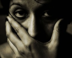 DSC_9161 Eye (P Shooter) Tags: portrait people blackandwhite eye girl monochrome 35mm dark nikon moody hand sad surreal indoor depthoffield depression depressed paintshoppro topaz blackbackround topazadjust nikond7100 pspx6